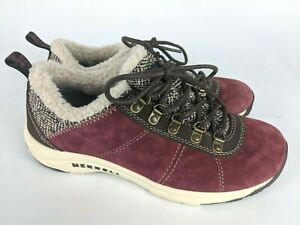 Merrell Windsor Red Wine Leather Faux Fur Sneakers Shoes Women's Size: 8