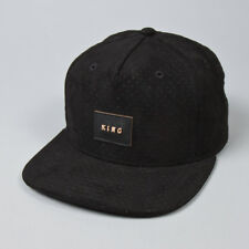 King Apparel Aesthetic Pinch Panel Snapback Cap - Black Suede Style  - OS