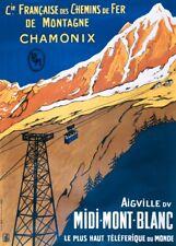 Vintage Ski Posters MONT-BLANC, CHAMONIX, France, circa 1900, Travel A3 Print