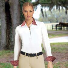 ROMFH Lindsay Show Shirt Long Sleeve Cranberry Maze White Washable LARGE NWT