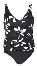 Miraclesuit Womens 10 Black White 2pc Ruched Shirred Tankini Lined Swimsuit EUC