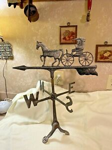 Vintage Cast Metal Weathervane Horse and Buggy