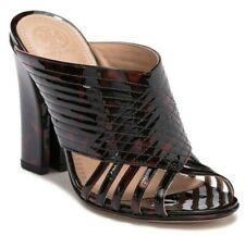 $350 Tory Burch Womens Brida Leather Block Heel Mule Tortoise Shell Size 10