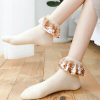 Details about  /Women 5 Pairs Butterfly Embroidered Ruffle Ankle Socks Cotton Knit Slouchy Socks