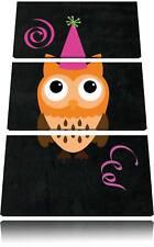 Búho con Fiesta Sombrero Negro 3-Teiler Foto en Lienzo Decoración de Pared