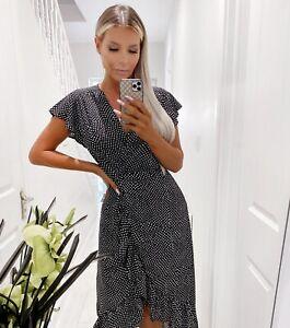 AX Paris Black Printed Wrap Midi Dress Spotty UK Size 12