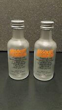Lot of Two EMPTY 50ml  Frosted Glass Mini Absolut Mandarin Vodka bottles..