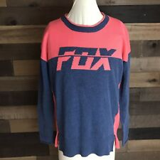 Women Lg Fox Racing Crew Neck Knit Sweater Contrast Stitch Pullover Pink Gray