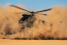 "RAF Puma Helicopter Sahara Desert Morocco 12x8"" Reprint Photo Royal Air Force"