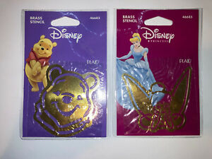 New Brass Disney Stencils: Lot of 2 Tinker Bell #46685 Smiling Pooh #46683