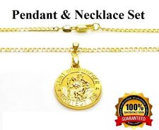 "18k Gold Saint Christopher Pendant And 24"" Curb Link Necklace Set +Free GiftPkg"