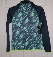 Nike Girls Therma Training Printed Hoodie Youth Med 10-12 Dark Turquoise/Volt