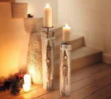 2er Kerzensäule Holzsternchen Kerzenständer Kerzenhalter Weihnachten Deko Holz