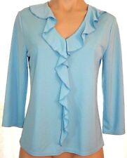 New NWT Kathie Lee S, small whisper Blue 3/4 sleeve ruffle v-neck blouse