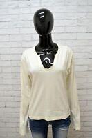 Maglia NAPAPIJRI Donna Taglia Size XXL Maglietta Blusa Shirt Woman Cotone Bianco