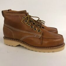 1980s Brown Leather Work Boots Hikers / 80s Nos Work Wear Oil Resistant 6.5