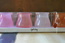 4 Teelichtglas Light & Living Rosa zum Hängen Geschenk Set Teelicht Glas Kupfer