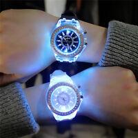 Fashion Men Women Wrist Watch LED Backlight Crystal Quartz Silicone Band Sport