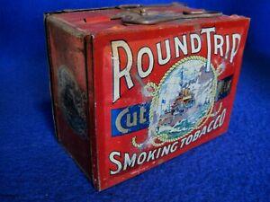 Vintage Round Trip Cut Plug Smoking Tobacco Lunch Pail Tin