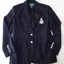 RALPH LAUREN  BLAZER,SUIT Jacket, SZ 2P,wool,crest,SILVER  buttons black  G1