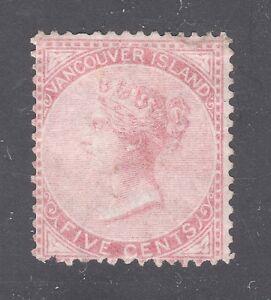 BR COL & VAN ISL STAMP #5 5c QU VICTORIA 1865 UNUSED