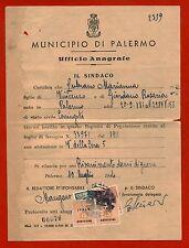 PALERMO LUG 1944, UFFICIO ANAGRAFE, 2 STAMPS C15 ALLIED MILITARY POSTAGE     m