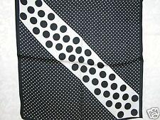 New 100% Charmeuse Silk Scarf Bandana White Black Dot