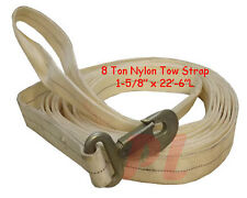 HD 8 Ton NYLON Tow Strap Rope Tie Down w/ Hook & Loop 22 FT - White
