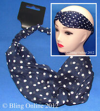 NAVY BLUE POLKA DOT POLKADOT DESIGN FABRIC HEADBAND HEADWRAP HAIR HEAD BAND WRAP