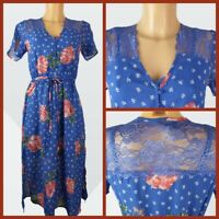 Ex New Look Ladies Blue Floral Print Summer Holiday Dress Size 6 - 18