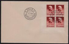 1942 NORWAY FDC Quisling  WWII Overprint  NK 301, Block of 4