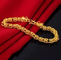 "18k Yellow Gold Women's Small 7"" Inch Dragon Link Chain Bracelet w Gift Pkg D731"