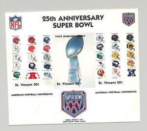 St Vincent #1449 Super Bowl XXV Program Cover Art 1v S/S Imperf Chromalin Proof
