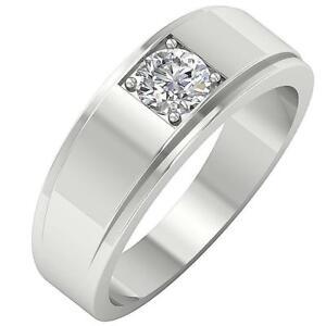 I1 G 0.50 Ct Round Cut Diamond Mens Engagement Ring Prong Set 14K Gold Appraisal