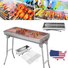 Fold Barbecue Charcoal Grill Stove Shish Kabob Stainless Steel BBQ Patio Camping photo