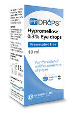 Preservative Free PF Hypromellose 0.3% Dry Eye Drops from Moorfields 10ml *NEW*