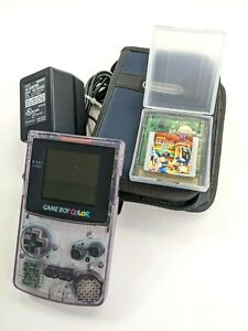 Nintendo Game Boy Color Atomic Purple With Charger, Case and Tetris Magic Game