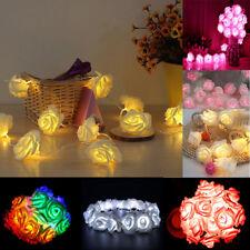 Rose Flower Battery Lights String Fairy 20 LED Battery Wedding XMAS Party Garden