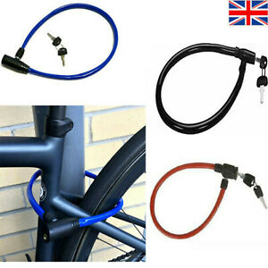 2 KEY CABLE LOCK BIKE CYCLE BICYCLE STEEL PADLOCK EXTRA STRONG SECURITY