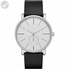 Skagen Men's Hagen Black Leather Strap Watch With White Face SKW6274 New & Boxed