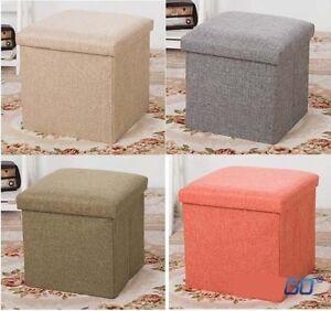 Single 1 Seater Ottoman Storage Box Faux Leather Folding Pouffe Seat Stool