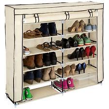 Armoire étagères à chaussures placard armoire pliable 6 niveaux + housse beige