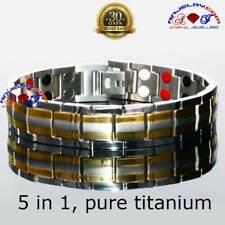 VISHACHI 5000G PURE TITANIUM  42 MAGNETIC THERAPY BRACELET MEN +ADJUSTER T03GS
