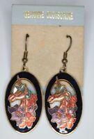 VTG Gold Tone Black Pink Unicorn Flowers Cloisonne Dangle Earrings New Old Stock
