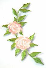 PALE PINK ROSE FLOWER Embroidered Iron Sew On Cloth Patch Badge  APPLIQUE