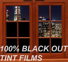 "Home Office Commercial Window 0% Vlt Blackout Tint 24""x 5 ft feet All Black"