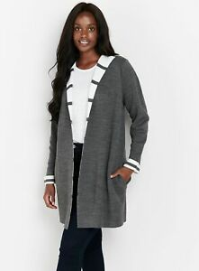 Evans Womens Grey Striped Hooded Cardigan Long Sleeve Top Outwear Coatigan