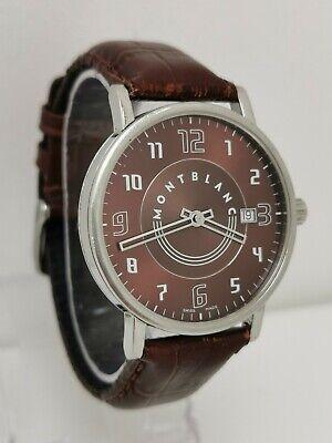 Vtg Mont Blanc Ref 7078 Gents 38mm Brown Face Summit Wrist Watch on BOB Strap