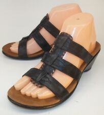 Umberto Raffini Womens Shoes Sandals EU 38 Black Leather Rubber Braided Wedge