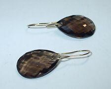 "Vintage 14K Yellow Gold Wire Faceted Tear Drop Smoky Quartz Dangle Earrings1.25"""